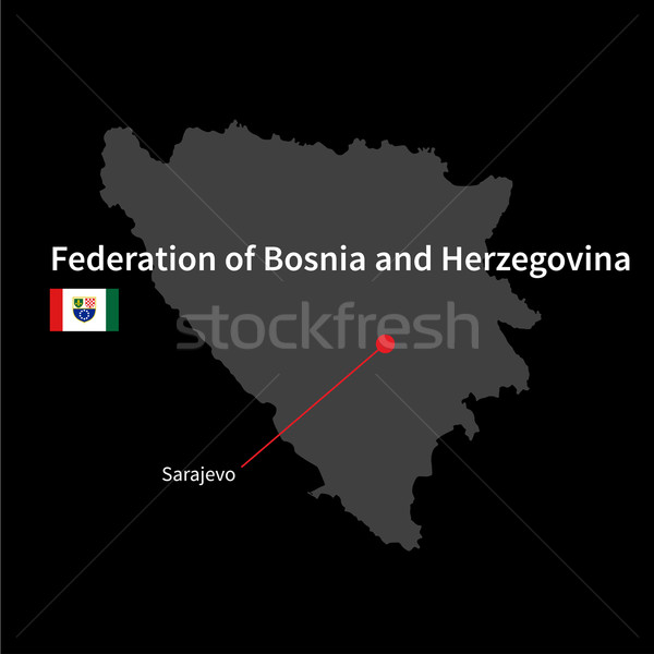 Detailed map of Federation of Bosnia and Herzegovina and capital city Sarajevo with flag on black ba Stock photo © tkacchuk