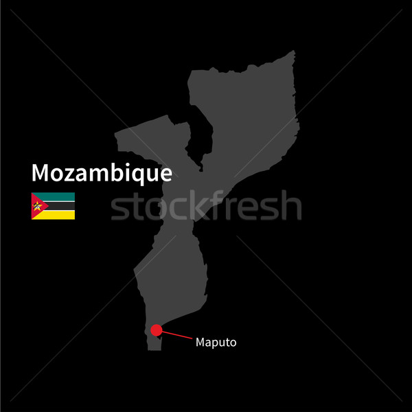 Detailed map of Mozambique and capital city Maputo with flag on black background Stock photo © tkacchuk