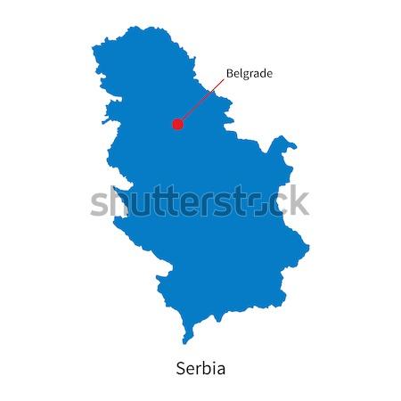 Detailed vector map of Serbia and capital city Belgrade Stock photo © tkacchuk