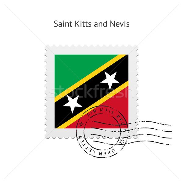 Stock photo: Saint Kitts and Nevis Flag Postage Stamp.