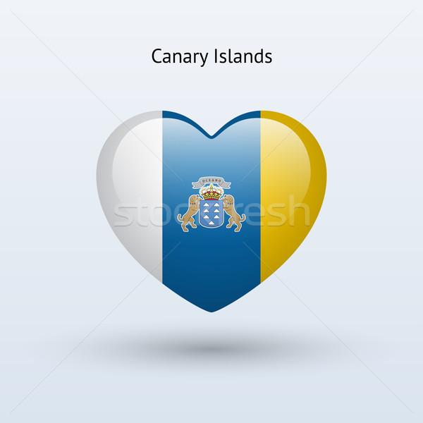 Szeretet Kanári-szigetek szimbólum szív zászló ikon Stock fotó © tkacchuk