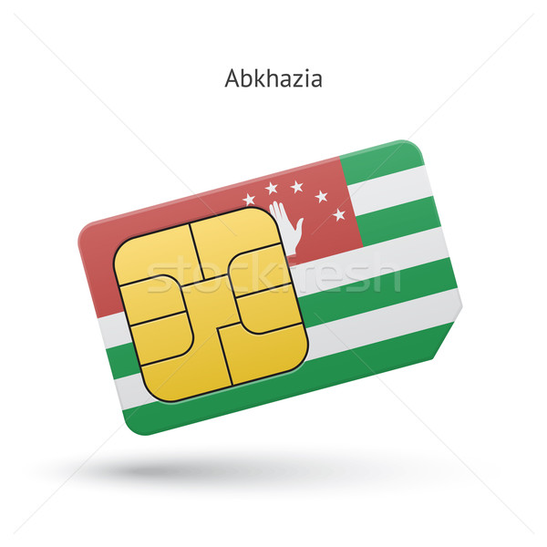 Stock photo: Abkhazia mobile phone sim card with flag.