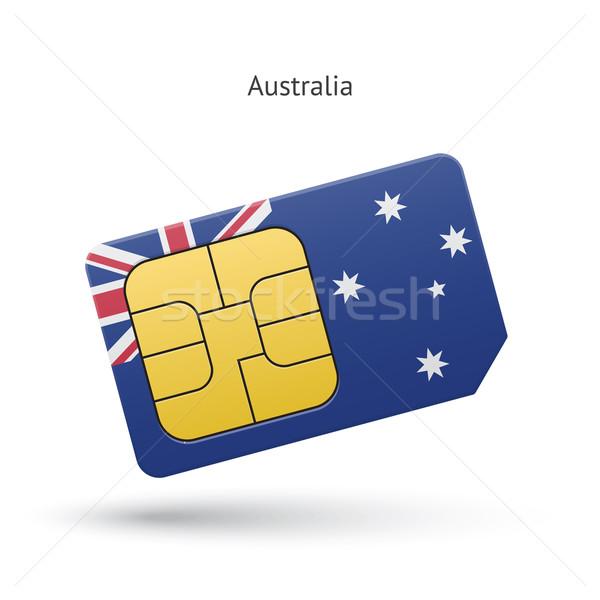 Australia mobile phone sim card with flag. Stock photo © tkacchuk