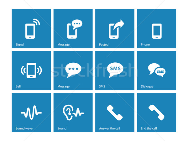 Phone icons on blue background  vector illustration © Vector