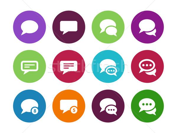 Message bubble circle icons on white background. Stock photo © tkacchuk