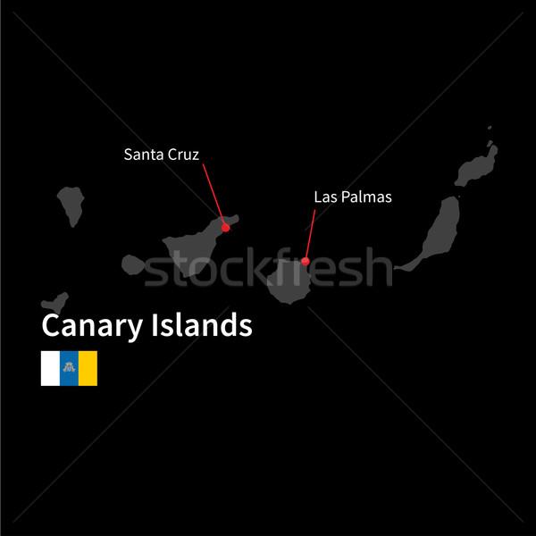Detalhado mapa canárias cidade bandeira Foto stock © tkacchuk