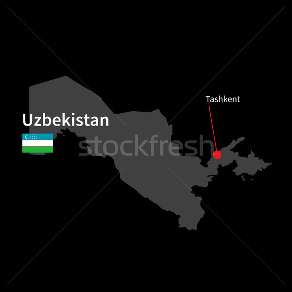 Detailed map of Uzbekistan and capital city Tashkent with flag on black background Stock photo © tkacchuk