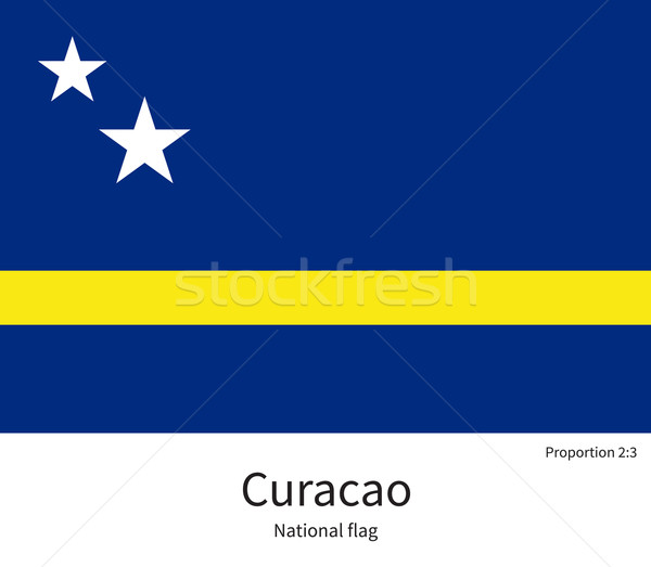 National flag of Curacao with correct proportions, element, colors Stock photo © tkacchuk