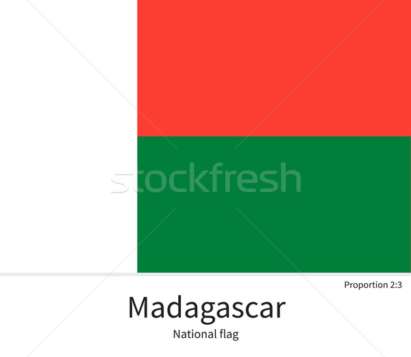 National flag of Madagascar with correct proportions, element, colors Stock photo © tkacchuk