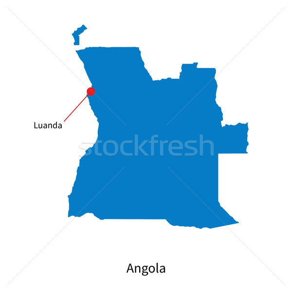 Detailed vector map of Angola and capital city Luanda Stock photo © tkacchuk