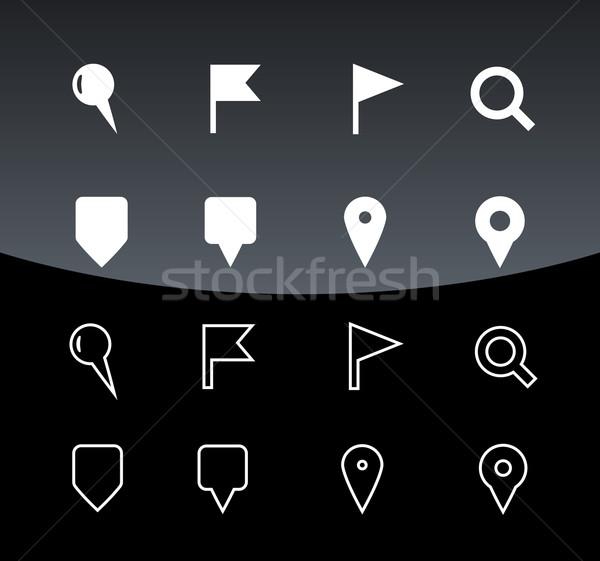 Gps navigatie iconen zwarte kaart teken Stockfoto © tkacchuk