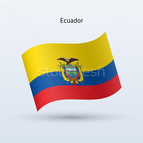 Ecuador flag waving form. Vector illustration. Stock photo © tkacchuk