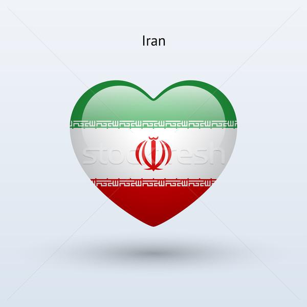 Love Iran symbol. Heart flag icon. Stock photo © tkacchuk