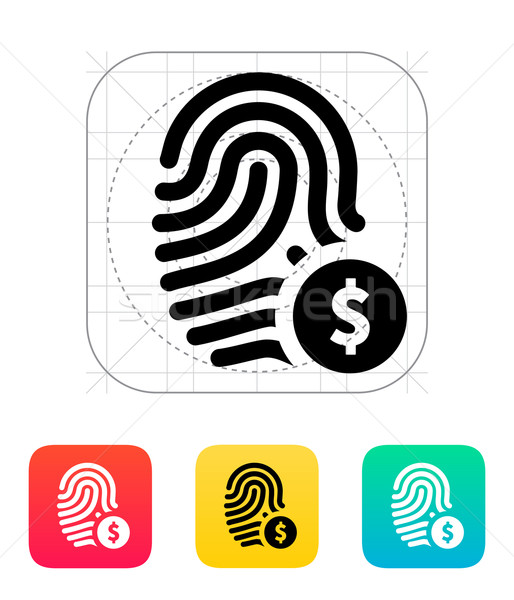 Fingerprint with USD currency symbol and money label icon. Stock photo © tkacchuk