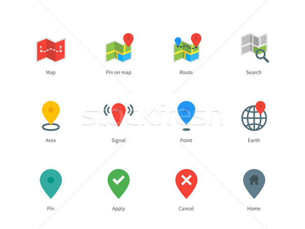 Térkép GPS navigáció szín ikonok fehér Stock fotó © tkacchuk