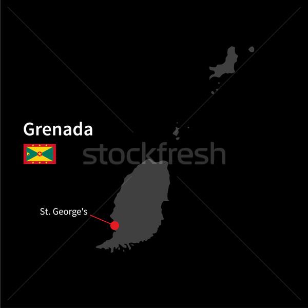 Részletes térkép Grenada város zászló fekete Stock fotó © tkacchuk