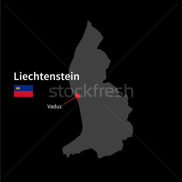 Dettagliato mappa Liechtenstein città bandiera nero Foto d'archivio © tkacchuk