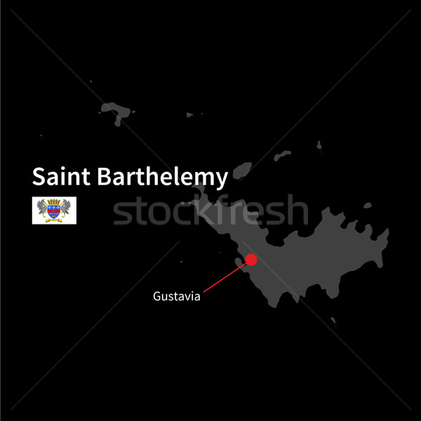 Detailed map of Saint Barthelemy and capital city Gustavia with flag on black background Stock photo © tkacchuk