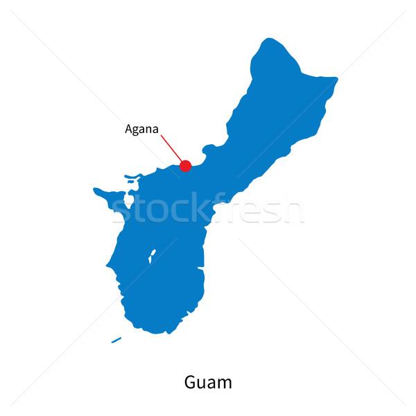 Detailed vector map of Guam and capital city Agana Stock photo © tkacchuk