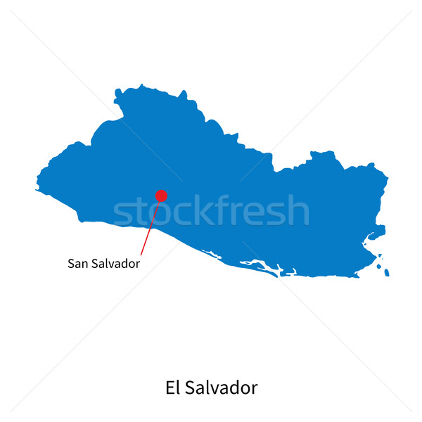 Detailed vector map of El Salvador and capital city Stock photo © tkacchuk