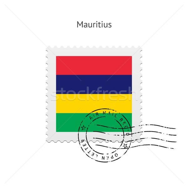 Маврикий флаг почтовая марка белый знак письме Сток-фото © tkacchuk