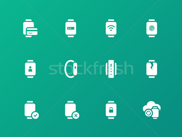 Payment, sync with smart watch icons on green background. Stock photo © tkacchuk