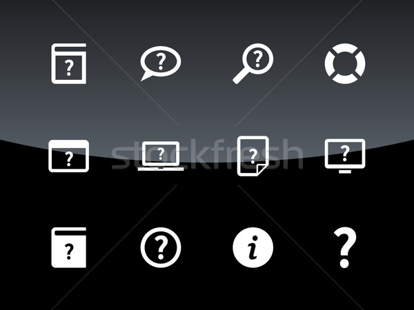 Help and FAQ icons on black background. Stock photo © tkacchuk
