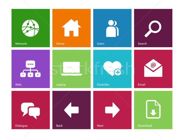 Sieci ikona kolor działalności laptop technologii Zdjęcia stock © tkacchuk