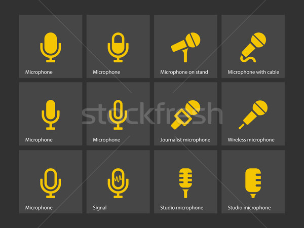 Stok fotoğraf: Mikrofon · simgeler · teknoloji · radyo · ses · stüdyo