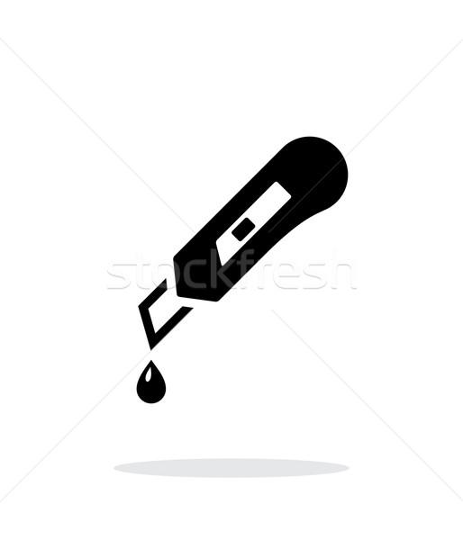 シャープ ナイフ アイコン 白 金属 にログイン ストックフォト © tkacchuk