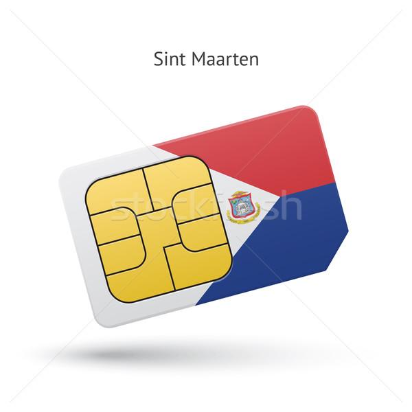 Sint Maarten mobile phone sim card with flag. Stock photo © tkacchuk