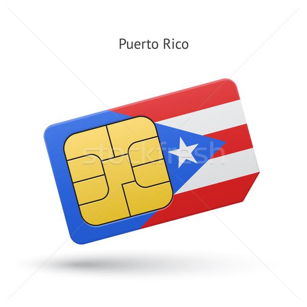 Puerto Rico mobile phone sim card with flag. Stock photo © tkacchuk