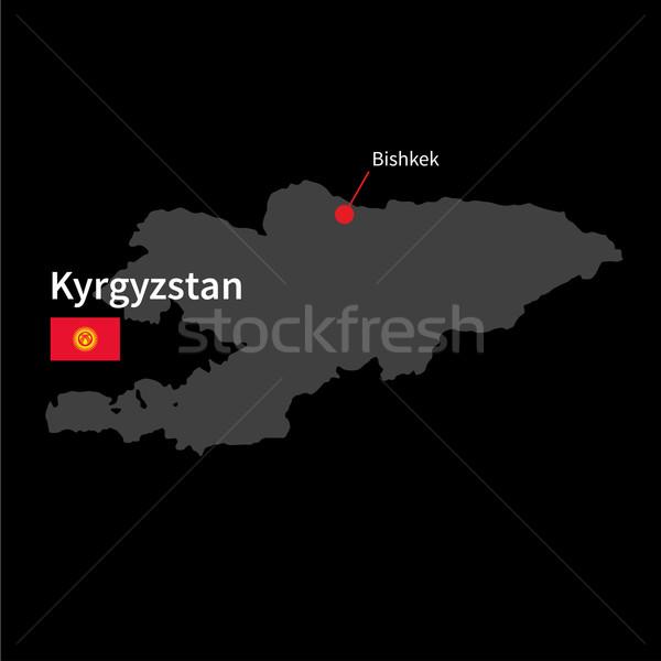 Ayrıntılı harita Kırgızistan şehir bayrak siyah Stok fotoğraf © tkacchuk