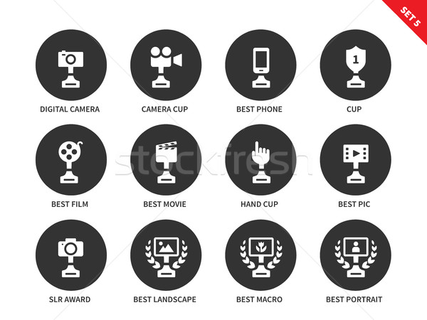 Prices and awards icons on white background Stock photo © tkacchuk