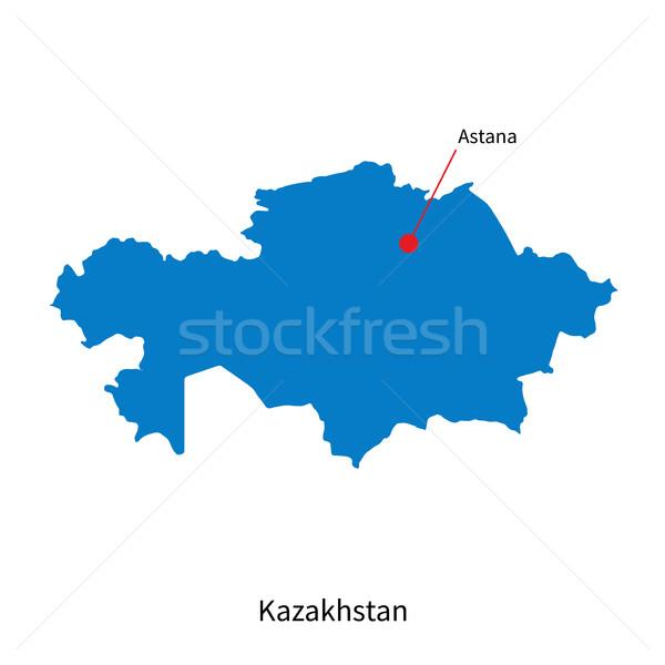 Detailed vector map of Kazakhstan and capital city Astana Stock photo © tkacchuk