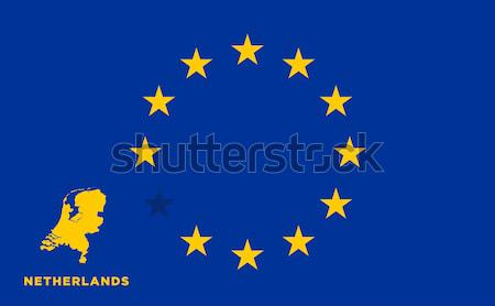 EU flag with Netherlands country. European Union membership Netherlands Stock photo © tkacchuk