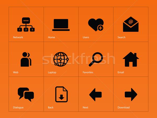 Sieci ikona pomarańczowy działalności laptop technologii Zdjęcia stock © tkacchuk