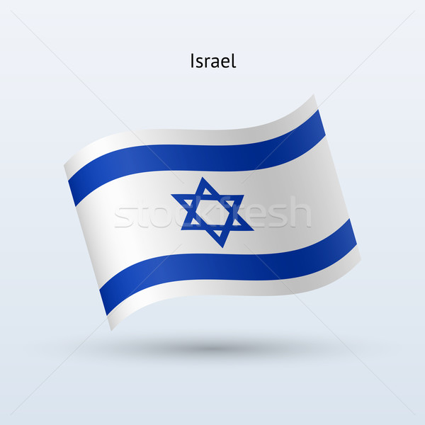 Israel flag waving form. Vector illustration. Stock photo © tkacchuk