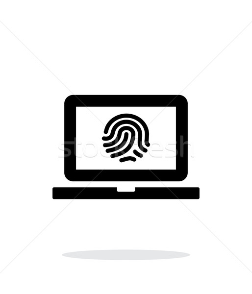 Laptop fingerprint icon on white background. Stock photo © tkacchuk