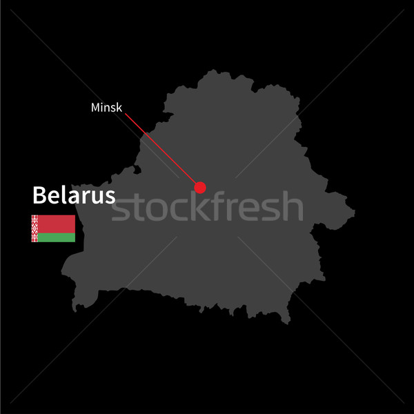 Detailed map of Belarus and capital city Minsk with flag on black background Stock photo © tkacchuk