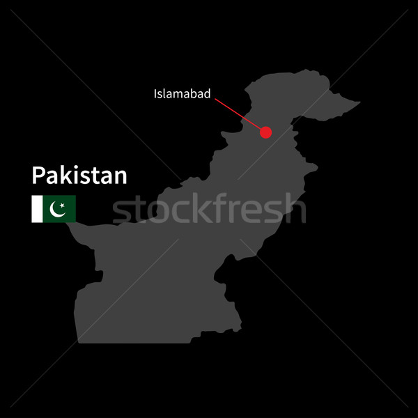 Stock photo: Detailed map of Pakistan and capital city Islamabad with flag on black background