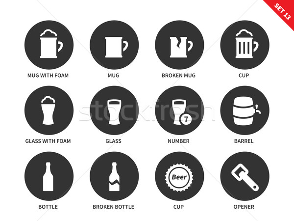 Stock photo: Beer and beverage icons on white background