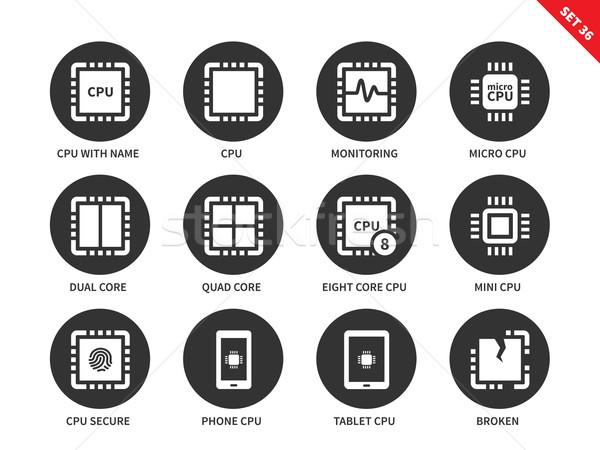 Processzor ikonok fehér központi egység vektor Stock fotó © tkacchuk