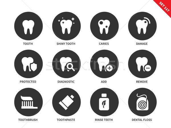 Tanden iconen witte vector geneeskunde Stockfoto © tkacchuk