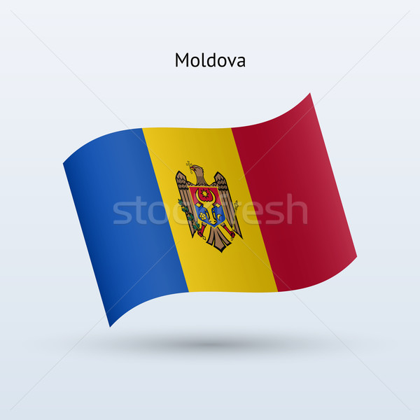 Moldova zászló integet űrlap szürke felirat Stock fotó © tkacchuk
