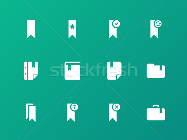 Bookmark, tag, favorite icons on green background. Stock photo © tkacchuk