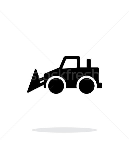 бульдозер простой икона белый автомобилей знак Сток-фото © tkacchuk