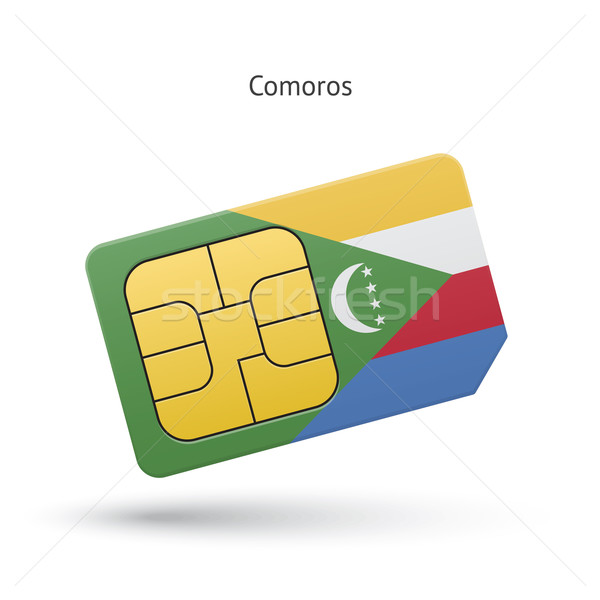 Comoros mobile phone sim card with flag. Stock photo © tkacchuk