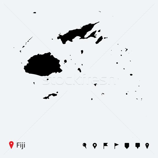 Alto dettagliato vettore mappa Fiji navigazione Foto d'archivio © tkacchuk