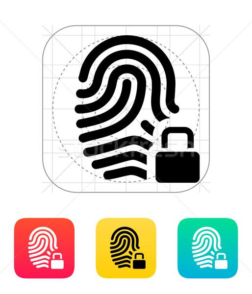 отпечатков пальцев блокировка икона дизайна технологий контроля Сток-фото © tkacchuk